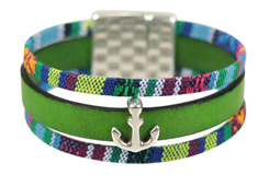 Anchors Away Flat Leather Bracelet