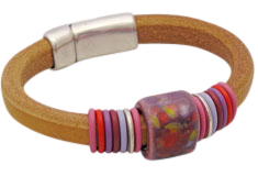Apricot Sunrise Regaliz Leather Bracelet
