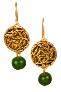 Bamboo Button Earrings