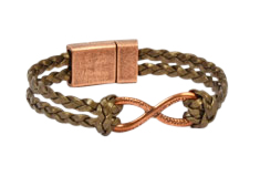 Copper Continually Braided Flat Leather Bracelet