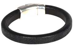 Embossed Black Regaliz Leather Bracelet