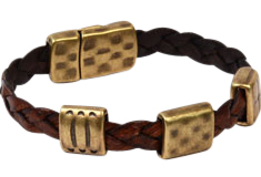 Twining Textures Braided Flat Leather Bracelet