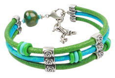 Leaping Lily Pads Round Leather Bracelet