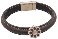 Spinning Daisy Bangle Mini Regaliz Leather Bracelet