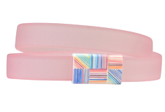 Pink Hatch Patterned Clasp & PVC Cord Bracelet