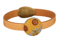 Sunflower Blaze Golem & Dolce Leather Cord Bracelet
